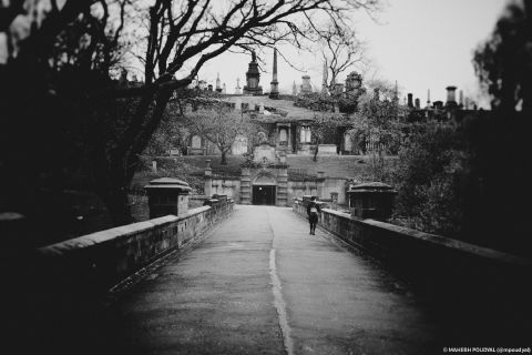 A dramatic entrance to the Glasgow Necropolis, made more so by the pinhole camera effect.